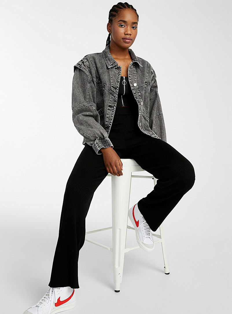 Twik Grey Acid wash black jean jacket for women