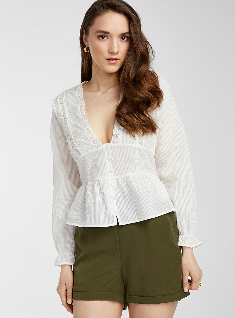 Icône White Swiss dot and lace blouse for women