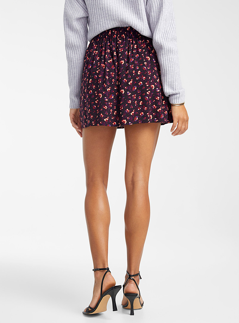 Icône Purple with patterns Windswept flowers miniskirt for women