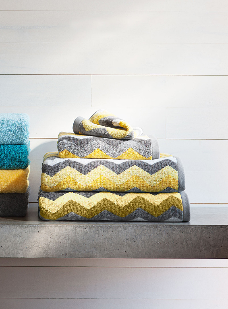 Yellow zigzag towels - Jacquards & Embroidery - Medium Yellow
