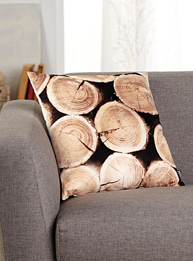 Wood stump velvet cushion  45 x 45 cm