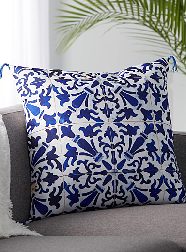 Indigo tiles cushion  60 x 60 cm