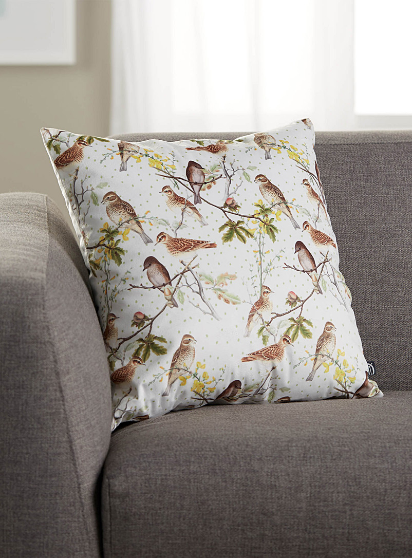 Bird paradise cushion  45 cm x 45 cm - Cushions - Patterned White