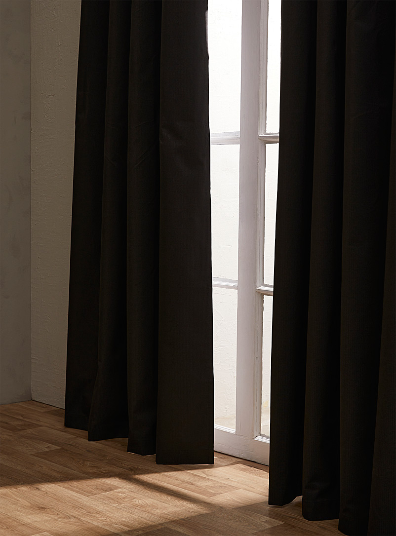 Simons Maison Black Parallel topstitch blackout curtain