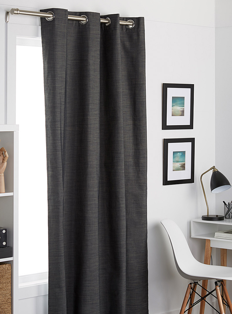 Simons Maison Dark Grey Chambray texture blackout curtain  140 x 220 cm