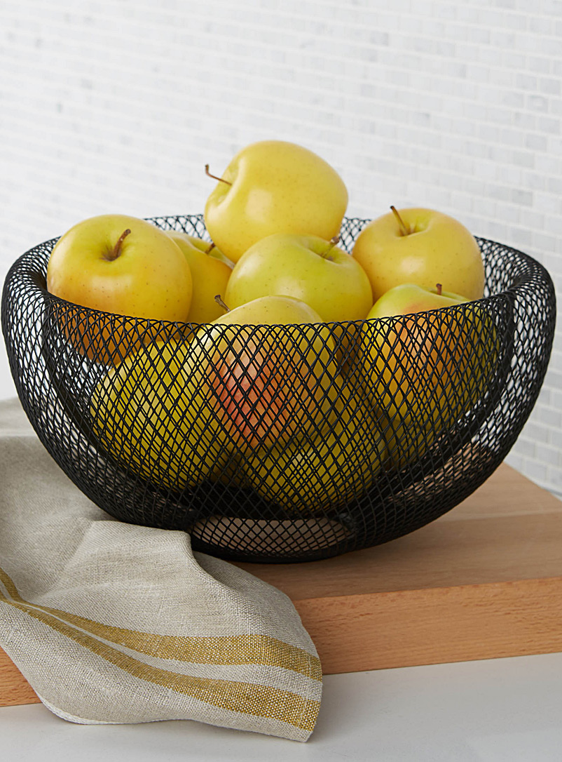 Simons Maison Black Large modern wire mesh fruit bowl