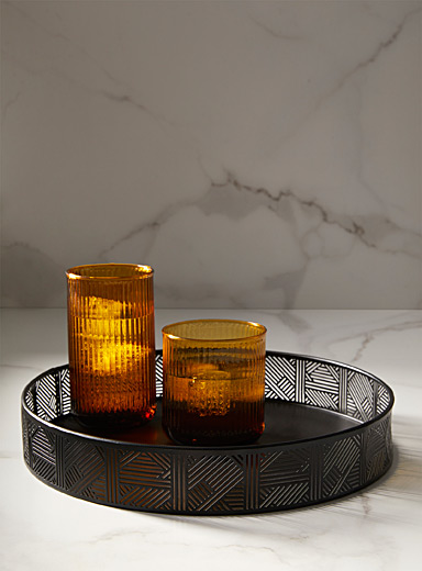 Simons Maison Black Graphic openwork metal tray