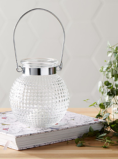 Dot embossed glass lantern