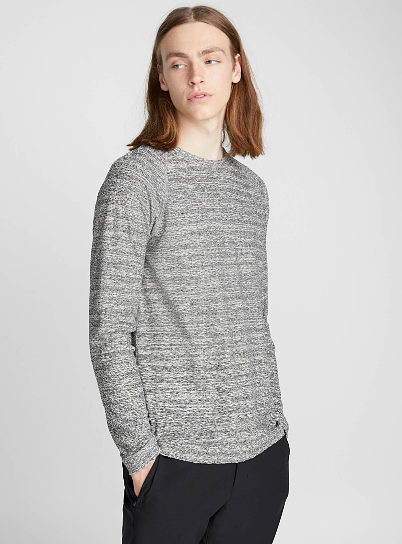 Heathered terry T-shirt - Long sleeves - Black