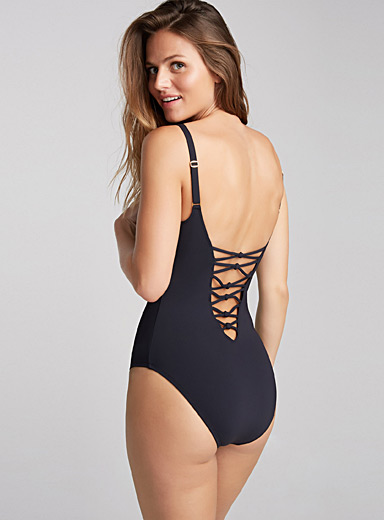 Laced V-cutout one-piece