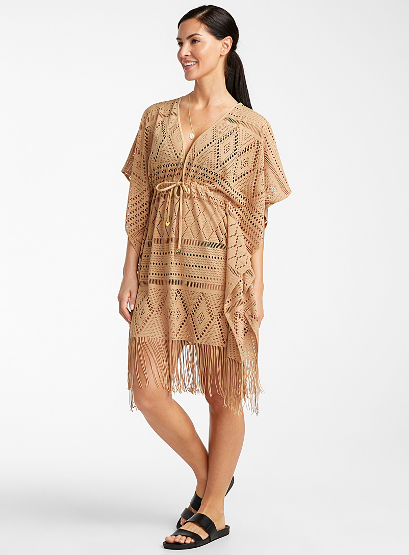 Bleu Rod Beattie Sand Western crochet caftan for women