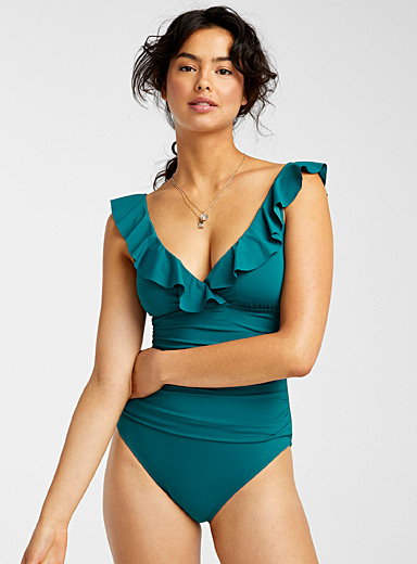 Ruffled ruched one-piece