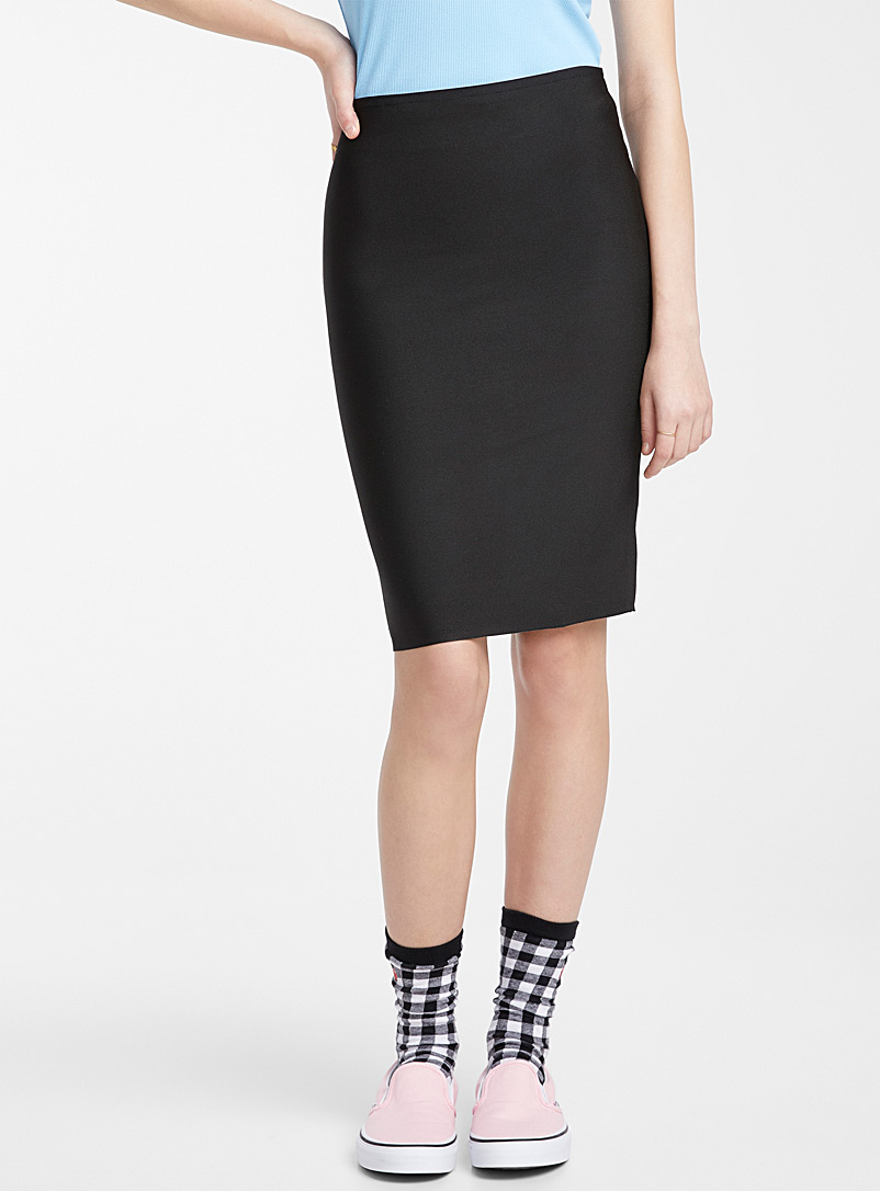 Shiny fitted midi skirt - Short - Black
