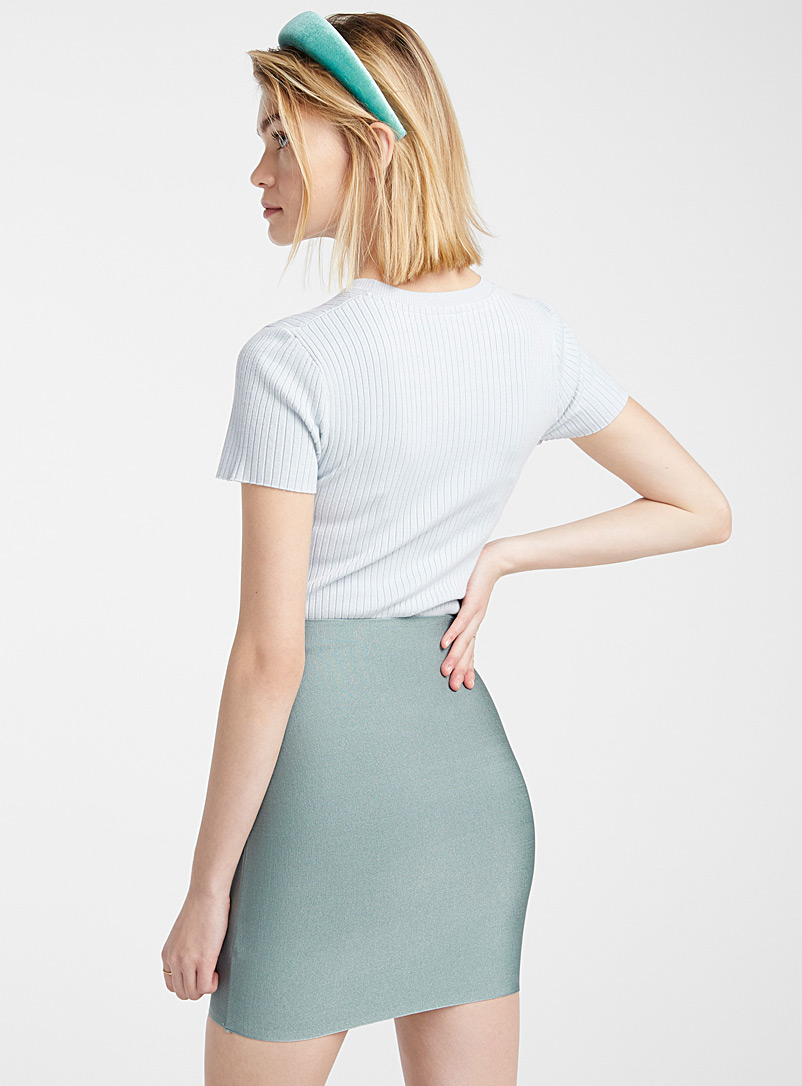Shiny fitted skirt - Short - Charcoal