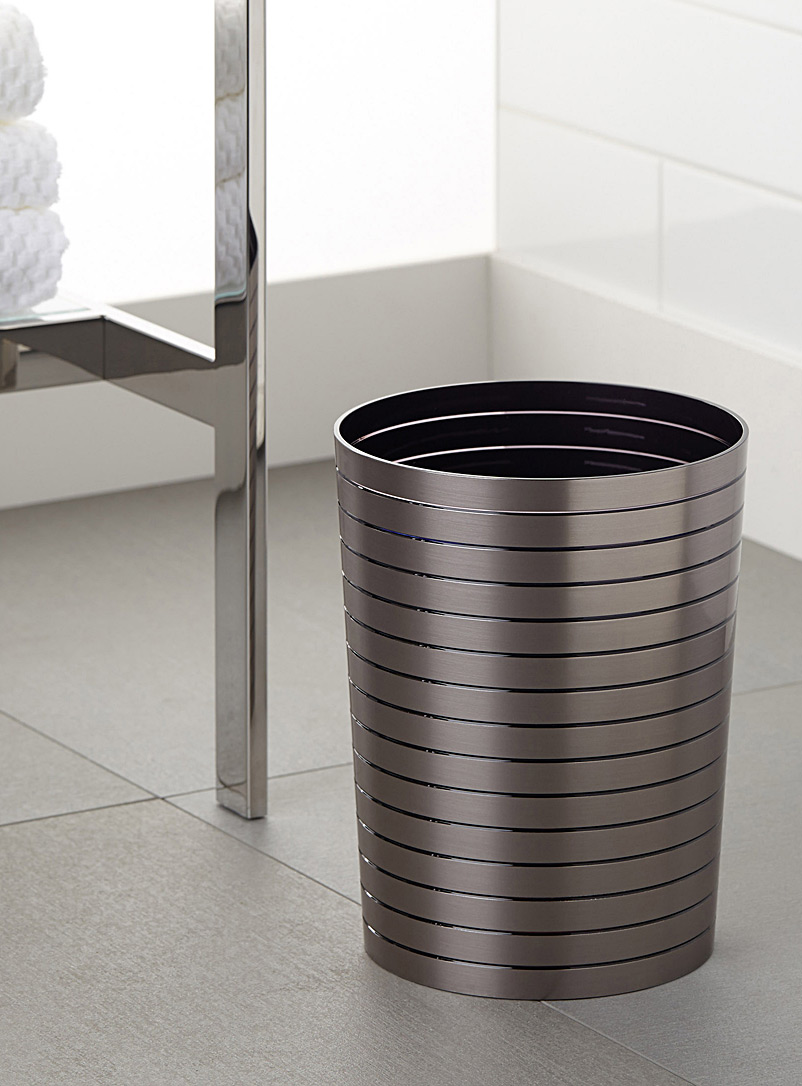 brushed-faux-metal-wastebasket