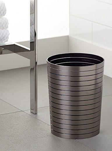 Brushed faux-metal wastebasket
