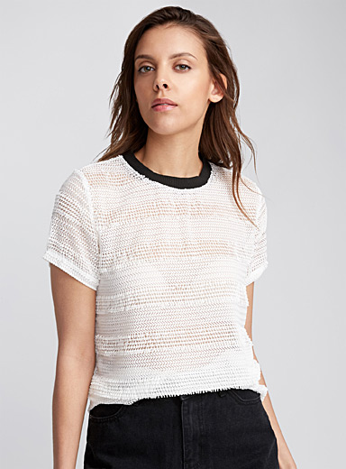 Mixed knit striped tee