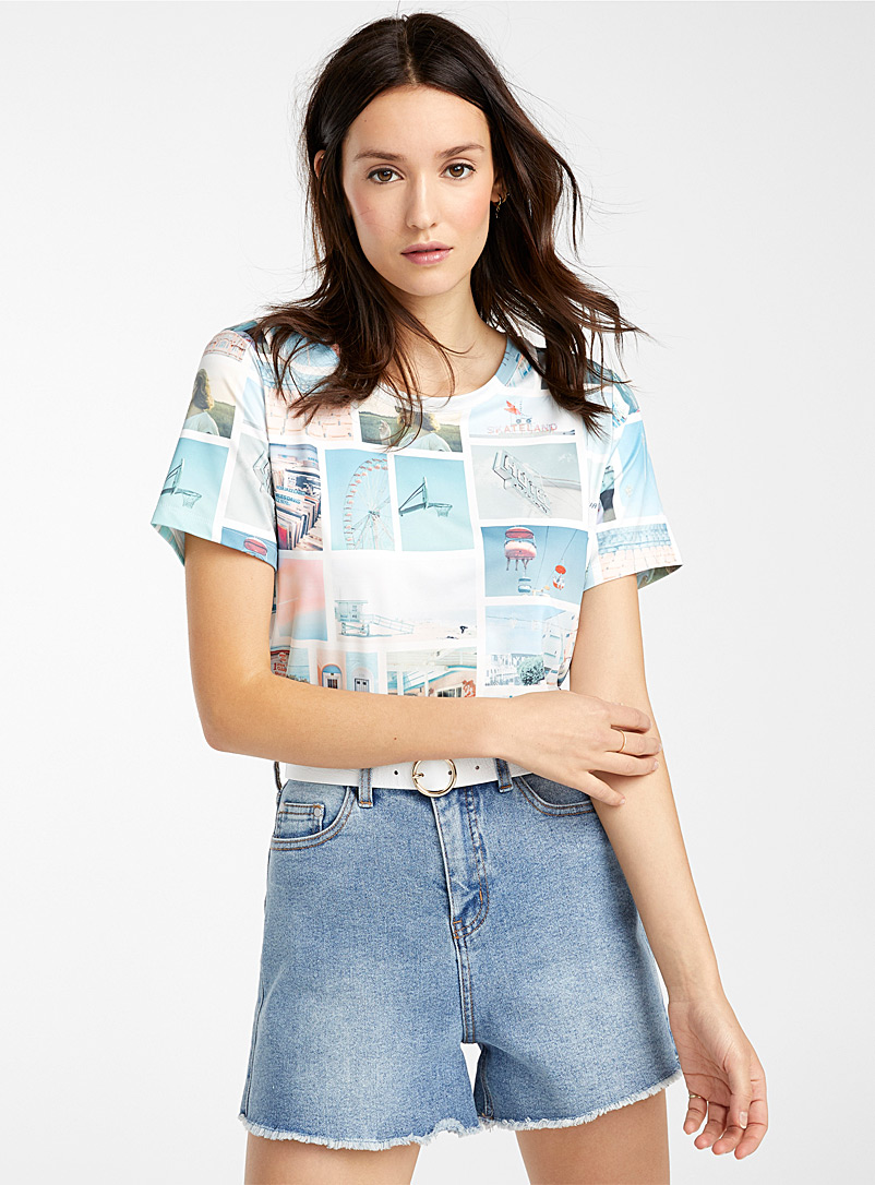 Icône Teal Silky patterned T-shirt for women