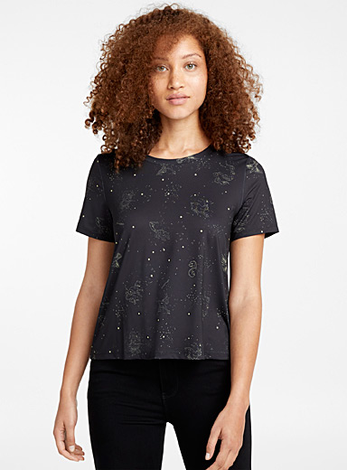 Silky patterned T-shirt