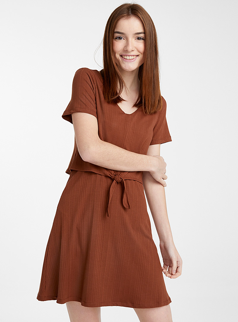 Twik Medium Brown Layered tie dress for women
