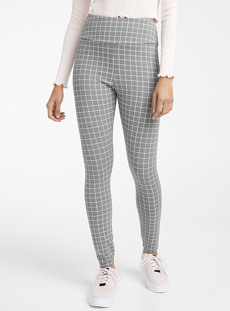 Twik Patterned Grey High-rise structured jersey legging for women