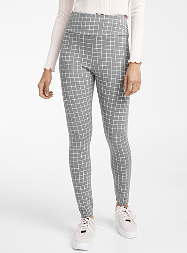Twik Patterned Grey Structured high-rise legging for women