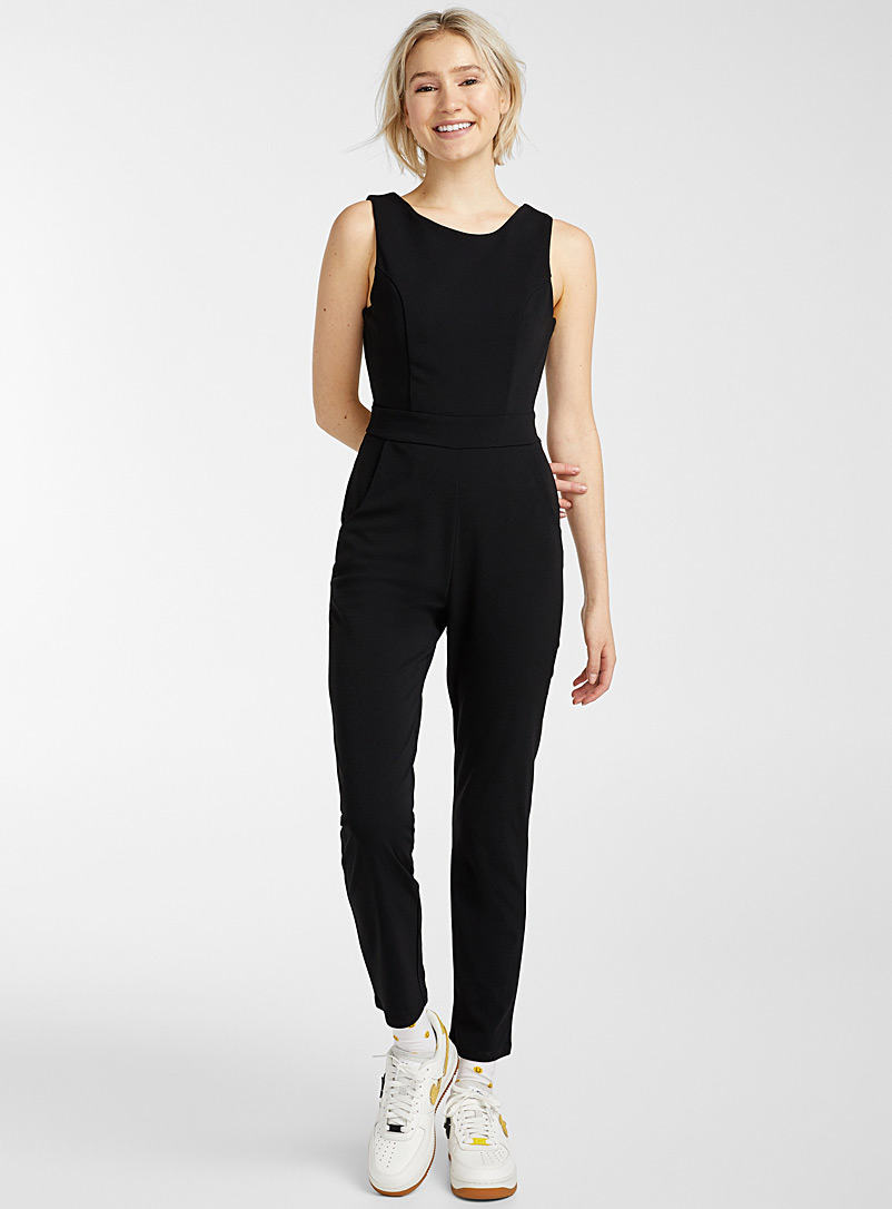 Twik Black Open-back jumpsuit for women