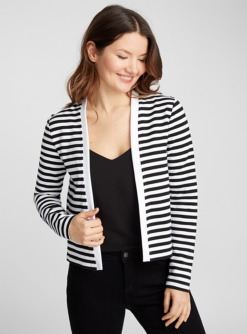 Open sweatshirt cardigan - Long Sleeves - Black and White