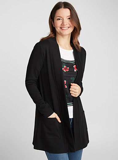 Long open sweatshirt cardigan