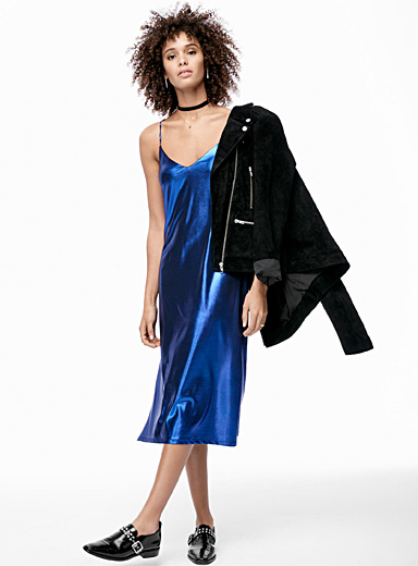 Coloured lamé slip dress