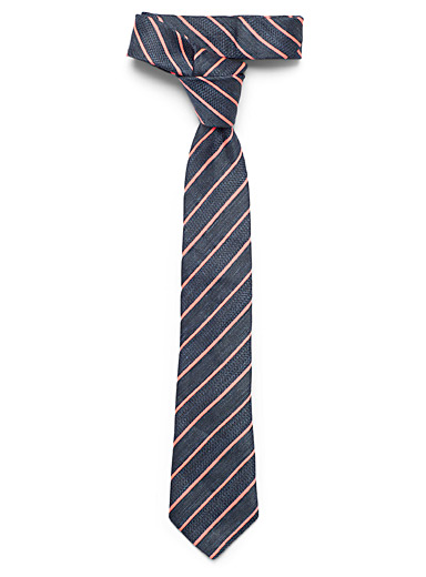 Le 31 Marine Blue Pop pink stripe tie for men