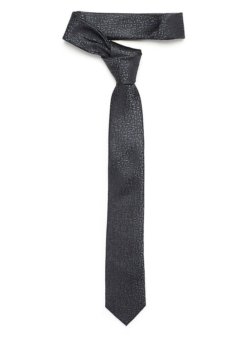 Subtle foliage tie - Skinny Ties - Black