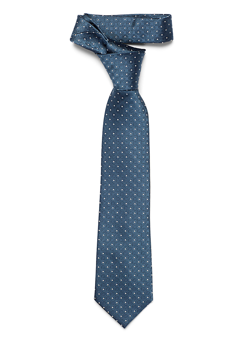 Le 31 Slate Blue Geometric dot tie for men