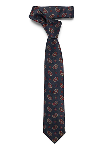 Le 31 Marine Blue Burgundy paisley tie for men