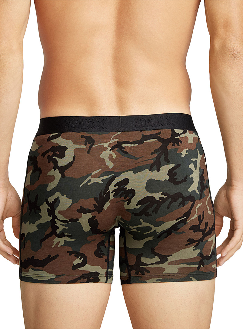 Saxx Green Woodland camo boxer brief VIBE for men
