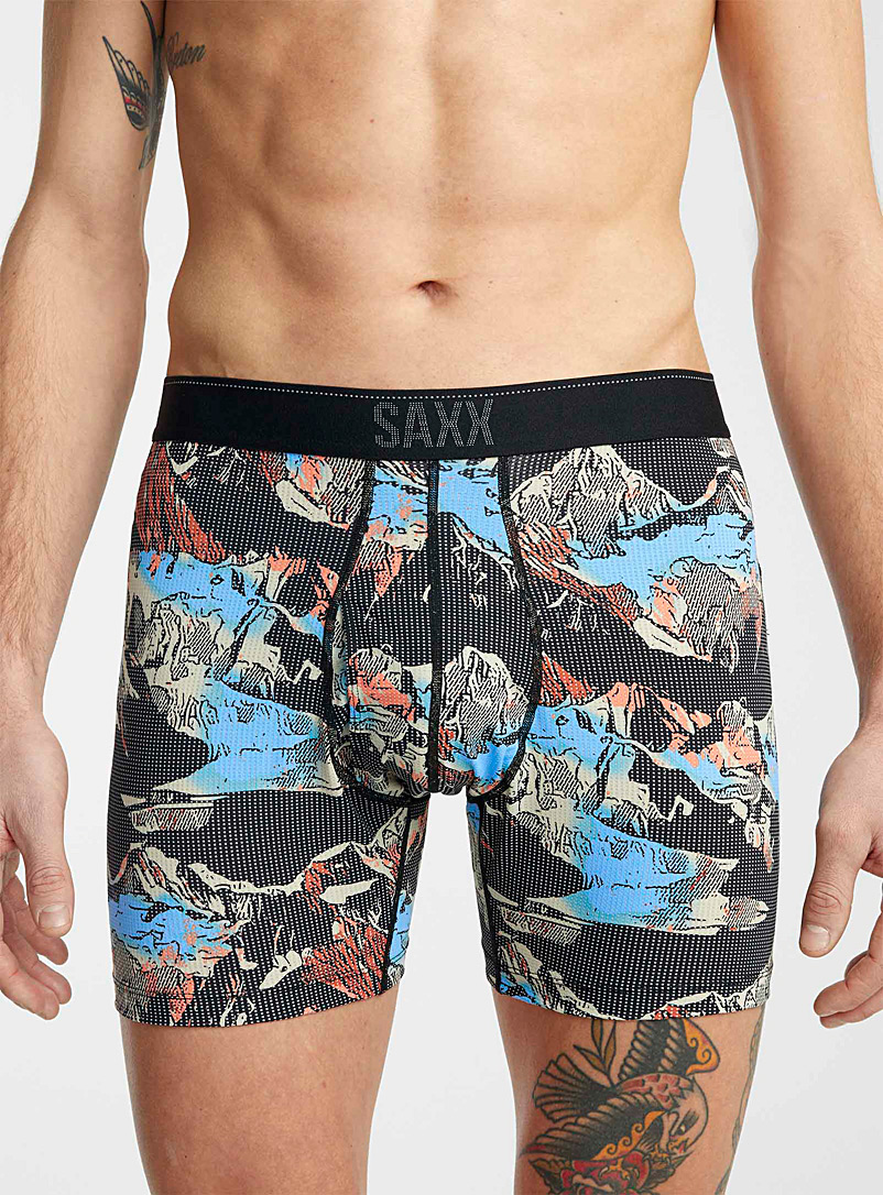 Saxx Patterned Black 3D mountain boxer brief QUEST for men