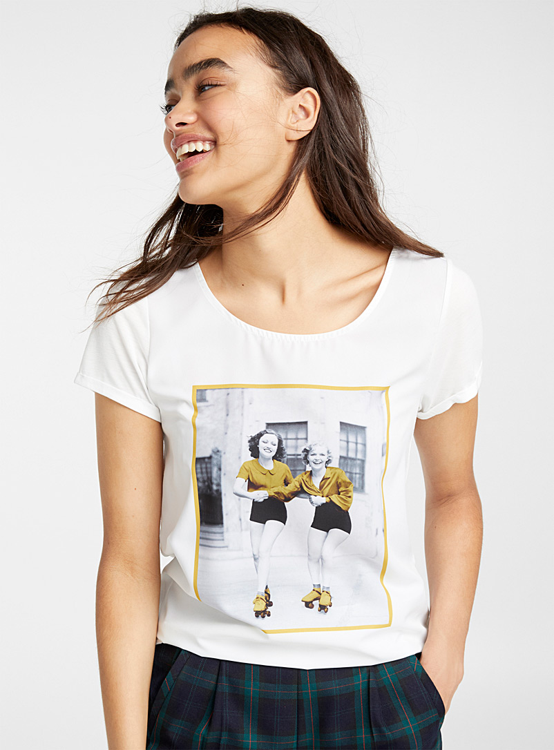 Photo print tee - Short Sleeves & ¾ Sleeves - Light Yellow