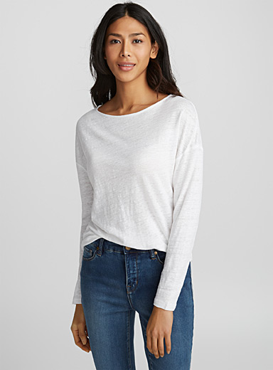 Loose heather linen tee