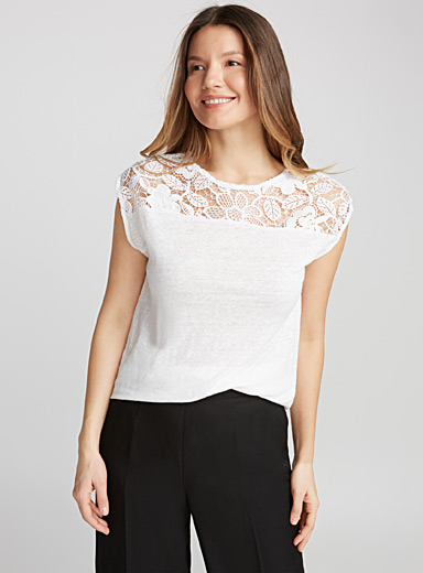 Crochet-shoulder tee