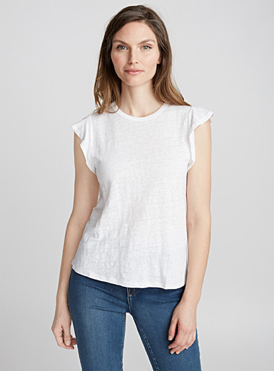 Le tee-shirt lin manches frisons