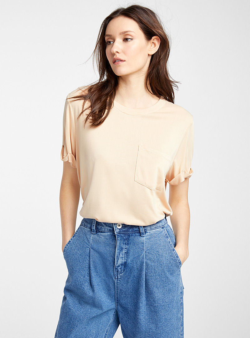 Icône Cream Beige Peachskin TENCEL* modal tee for women