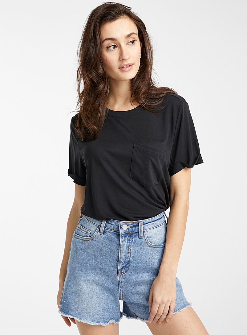 Icône Dark Grey Peachskin TENCEL* Modal tee for women