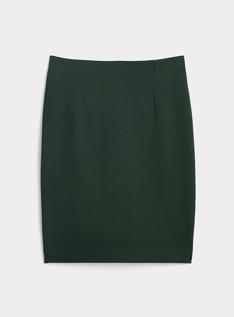 Icône Mossy Green Structured jersey pencil skirt for women