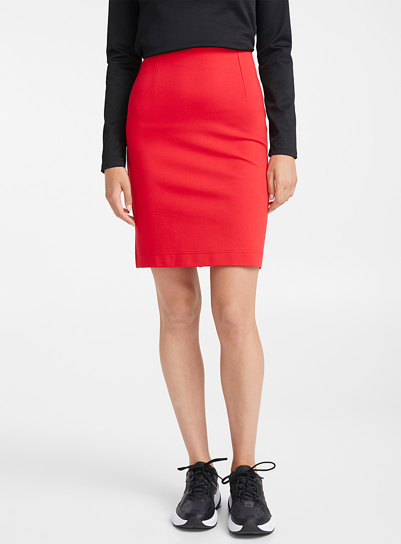 Structured jersey pencil skirt - Midi - Red