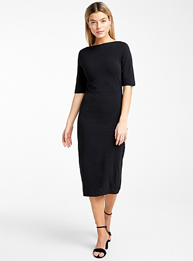 Stretch engineered jersey midi dress