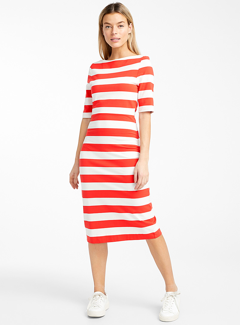 Icône Patterned Red Stretch engineered jersey organic cotton midi dress for women