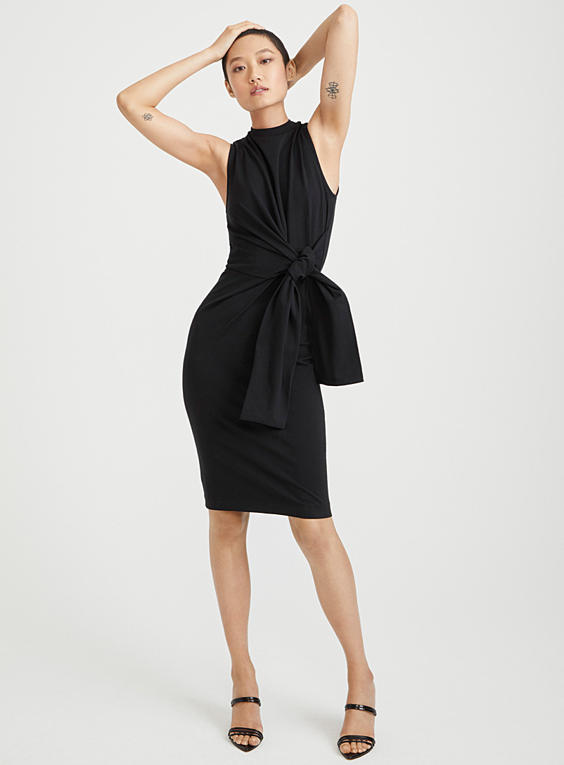 Tie waist jersey dress - Bodycon - Black