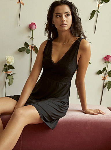 Charming lace modal nightie