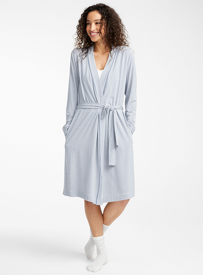 Miiyu Patterned Blue Paradise beach modal robe for women