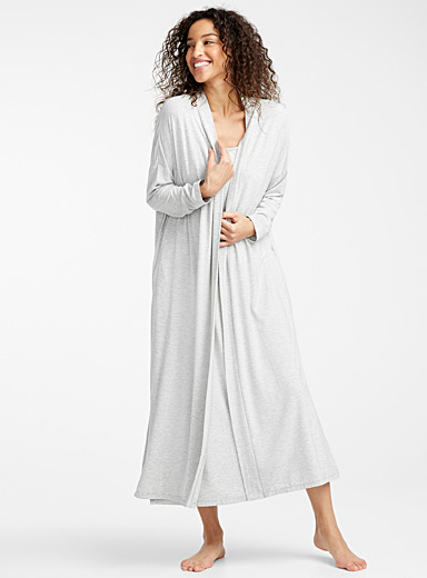 Long modal cardigan robe